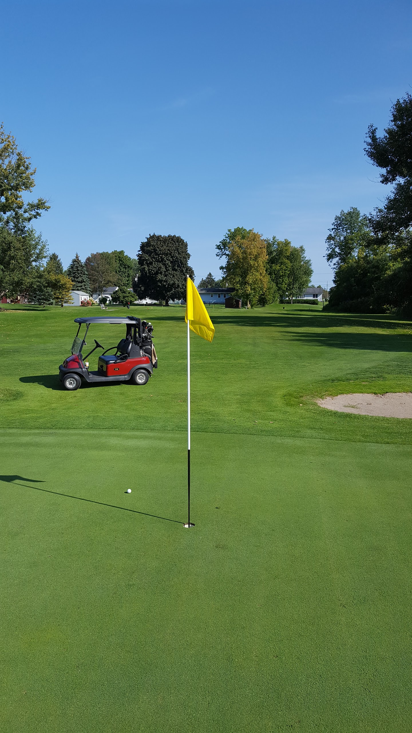 golf green with yellow flag with golf cart in the background